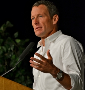 During his visit to the University at Buffalo in spring 2012, Lance Armstrong warned LSY! sports editor Hailey Rose Gattuso about fame.(Photo by Kourtney Selak)