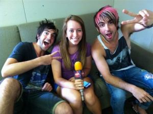 "Jack Barakat and Alex Gaskarth of All Time Low told us during our Vans Warped Tour interview that they weighed making the ""safe choice"" (college) versus following their dreams (music) after high school.Photo by Tim O'Shei"