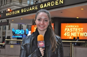 Gabi Hartman outside Madison Square Garden