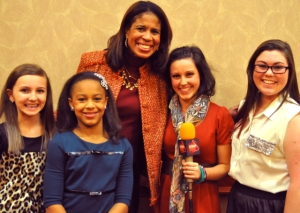 """Holly Frazier, center, and her daughter Nia, second from left, are among the stars of the hit reality series """"Dance Moms."""" They met with the Live! Starring ... You! team in Niagara Falls USA. From left are Olivia Harvey, Francesca Harvey and Catherine McDaniel.(Photo by Erika Taylor)"""