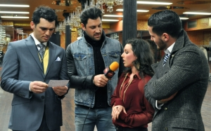 LSY! teen editor Francesca Harvey learned that the first rule of interviewing is NEVER give up your microphone! That's Val Chmerkovskiy of Dancing with the Stars fame holding the microphone, while his brother and fellow DWTS star Val, right, looks on. At left, DWTS' Tony Dovolani checks out Francesca's questions.