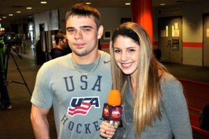 LSY! teen sports editor Hailey Rose Gattuso with U.S. National Sled Hockey Team member Alexi Salamone. (Photo by Tim O'Shei)