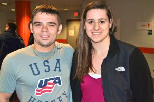 LSY! teen features editor Natalie Brophy with U.S. National Sled Hockey Team member Alexi Salamone. (Photo by Tim O'Shei)