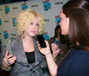 Singing icon and current Broadway star Cyndi Lauper shared her advice for Live! Starring ... You! fans with Gabi Hartman on the red carpet at the Broadway.com Audience Choice Awards in New York City. (Photo by Alana Siefman)