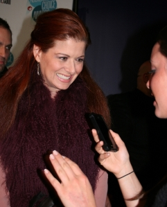 Debra Messing dishes advice to LSY!'s Gabi Hartman at the Broadway.com Audience Choice Awards. (Photo by Alana Kerr.)