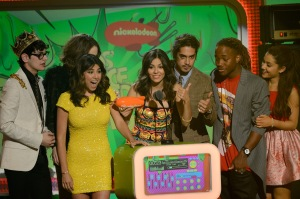 Daniella Monet, in yellow, joins her Victorious castmates onstage at Nickelodeon's 26th Annual Kids' Choice Awards at USC Galen Center on March 23, 2013. (Photo courtesy of Nickelodeon)