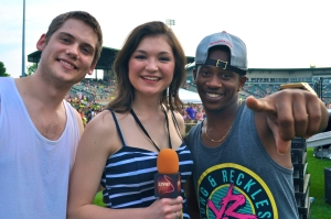 MKTO's Tony Oller and Malcolm Kelly join LSY reporter Jessica Wojcinski at 98PXY's Summer Jam. (Photo by Tim O'Shei)