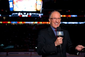 "Mike ""Doc"" Emrick is calling the Stanley Cup Finals for NBC. (Photo by Charles Sykes/NBC)"