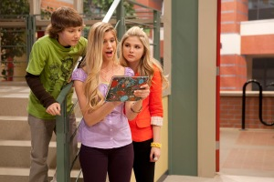 Allie DeBerry, center, with Jake Short and Stefanie Scott, plays Paisley Houndstooth on Disney Channel's A.N.T. Farm. (Photo by Bruce Birmelin/courtesy of Disney Channel)