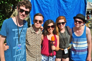 "Warner Bros. Records recording artists Echosmith, shown here with LSY teen editor Francesca Harvey on Vans Warped Tour, is releasing their debut album ""Talking Dreams"" Oct. 1. (Photo by Tim O'Shei)"