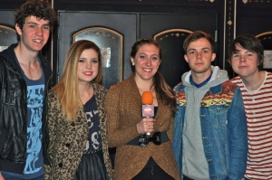 Echosmith, an alt-pop sibling quartet, with writer Amy Brooks at the House of Blues in Cleveland. From left are Jamie, Sydney, Noah and Graham Sierota. (Photo by Bryanna Gwitt)