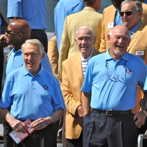 Marv Levy, at left, told LSY's Hailey Rose Gattuso that his Buffalo Bills wouldn't bring on players with a history of questionable character. (Photo by Lauren Kirchmyer)