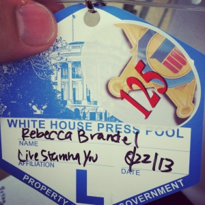 Rebecca Brandel's White House press credential for Live! Starring ... You!