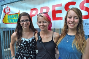 Sierra Lyman, center, is the daughter of Vans Warped Tour founder Kevin Lyman. Here she poses outside the Warped press tent in Cleveland with LSY reporters Paige Kelschenbach and Mary Hartrich. (Photo by Tim O'Shei)