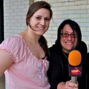 Natalie Brophy after her interview with Robby Takac of the Goo Goo Dolls about his Music is Art Foundation.