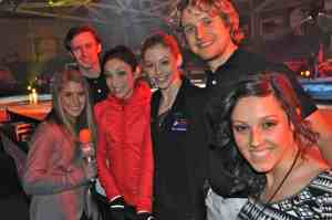 LSY! sports editor Hailey Rose Gattuso, left, and teen editor Francesca Harvey, right, join Olympic skaters Jeremy Abbott, Meryl Davis, Gracie Gold and Charlie White at the Progressive Skating & Gymnastics Spectacular. (Photo by Tim O'Shei)