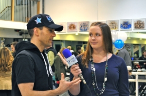 "Geo with reporter Becky Harms during a release party for the LSY! book ""Be the One!"" (Photo by Natalie Brophy)"