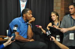 "Michael Strahan, one of the newest members of the Pro Football Hall of Fame and co-host of ""Kelly & Michael,"" has an unusual approach to goal-setting. (Photo by Michelle Ostrander)"
