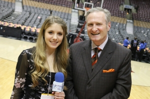 Toronto Raptors broadcaster Jack Armstrong with Hailey Rose Gattuso.