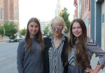 Anna Bulbrook from The Airborne Toxic Event talked to Grace Driscoll (left) before her Town Ballroom show.